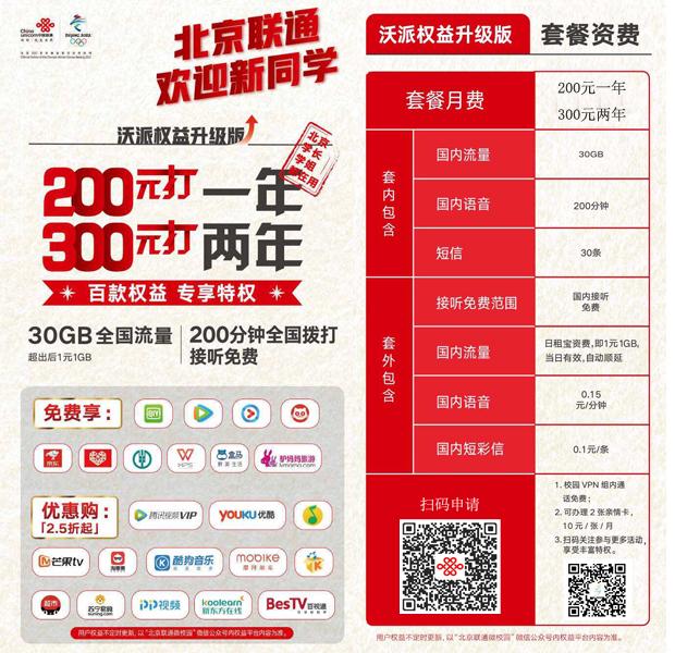#2019北京联通校园卡#12.5元/月:全国流量不限量+200分钟,全国包邮,活人即可申请